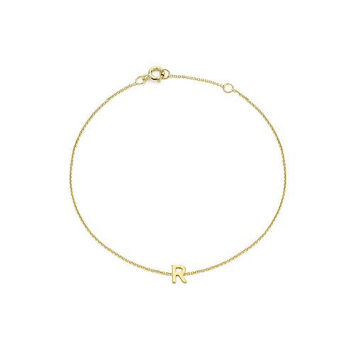 9ct Yellow Gold Initial R Ladies Bracelet