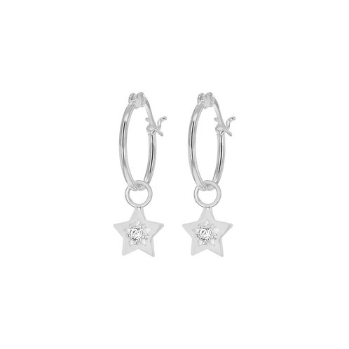 Sterling Silver Star Drop Hoop Earrings