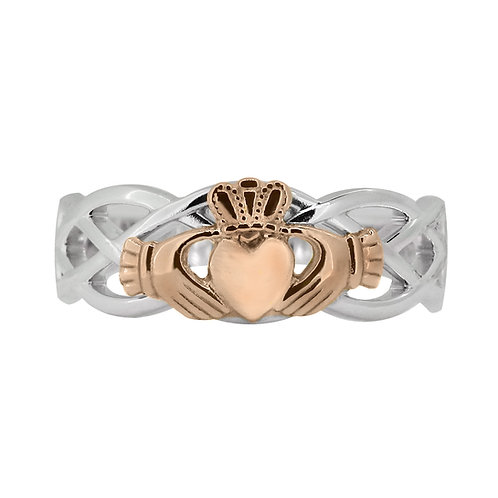 10ct White and Rose Gold Ladies Unity Ring