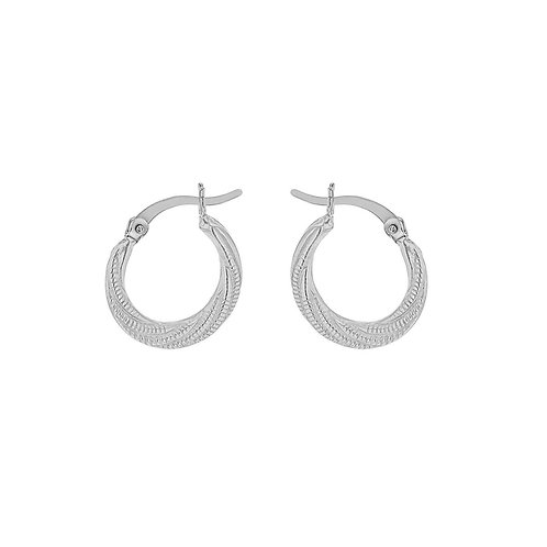 Sterling Silver Bead Twist Graduated Creole Earrings