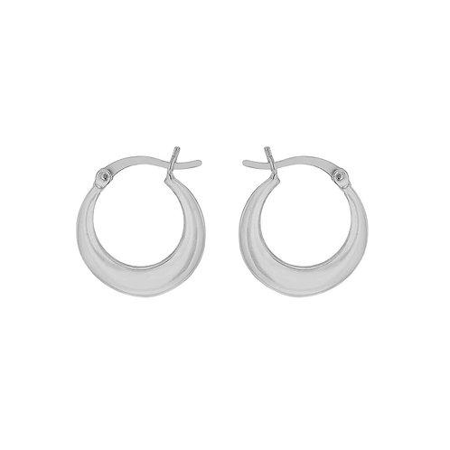 Sterling Silver Plain Graduated Creole Earrings