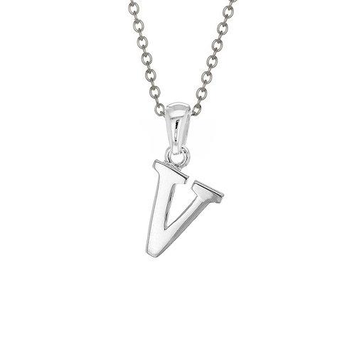 Sterling Silver Letter V Pendant