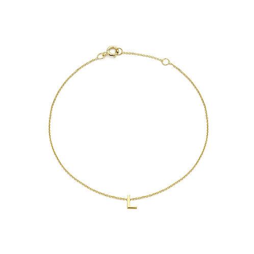 9ct Yellow Gold Initial L Ladies Bracelet