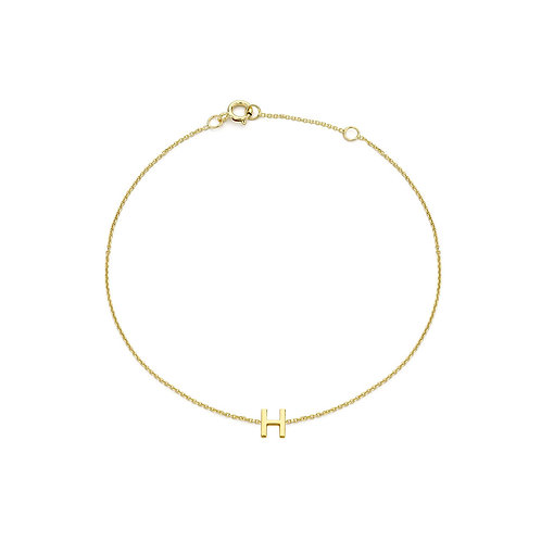 9ct Yellow Gold Initial H Ladies Bracelet