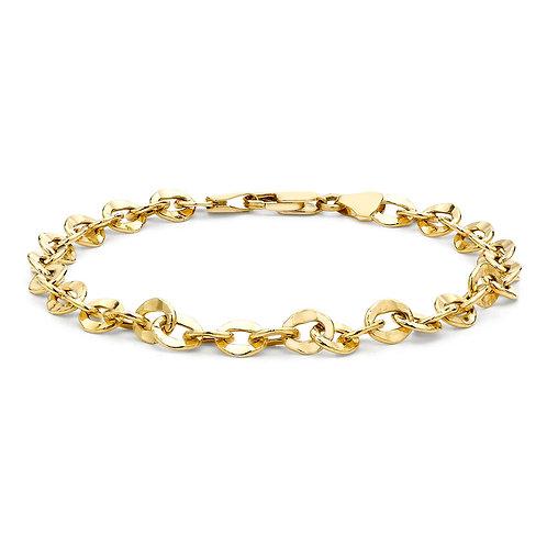 9ct Yellow Gold Hammered Link Ladies Bracelet