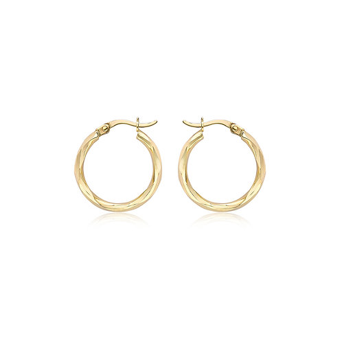 9ct Yellow Gold Faceted 18.5mm Hoop Earrings