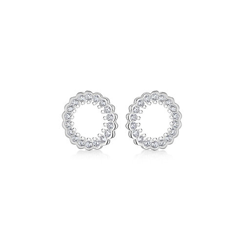 Sterling Silver CZ Circle Stud Earrings
