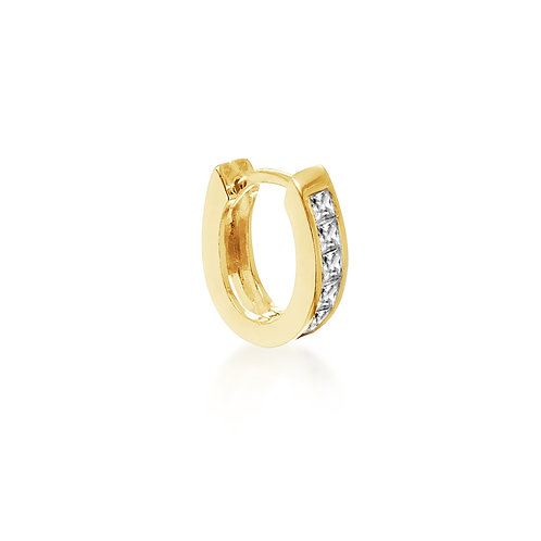 Yellow Gold Vermeil Stone Set 12mm Huggy Hoop