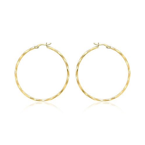 9ct Yellow Gold 42mm Diamond Cut Hoop Earrings