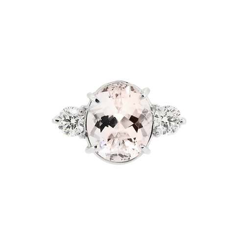18ct White Gold Morganite and Diamond Three Stone Ring