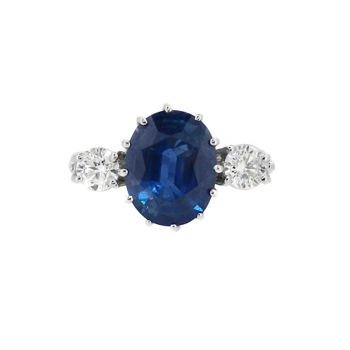 18ct White Gold Sapphire and Diamond Three Stone Ring
