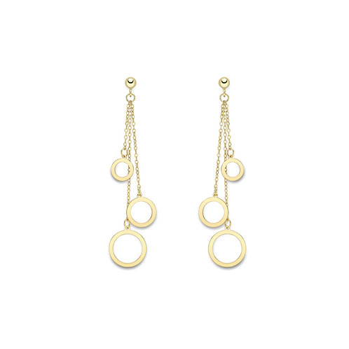 9ct Yellow Gold Round Triple Drop Chain Earrings