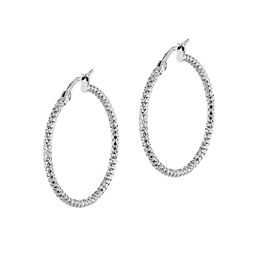Sterling Silver Thick 50mm Forever Bead Hoop Earrings