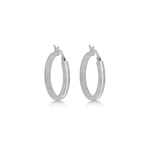 Sterling Silver Stardust Creole Round Hoops
