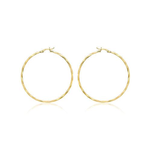 9ct Yellow Gold 48mm Diamond Cut Hoop Earrings