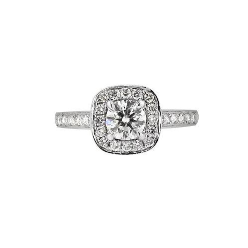 18ct White Gold Cushioned Shaped Diamond Halo Ring