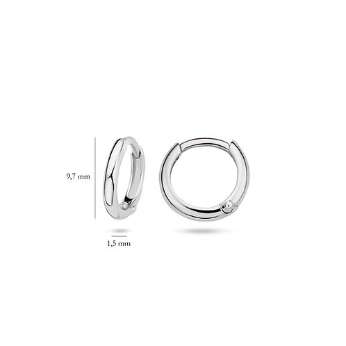 14ct White Gold 9.7mm Huggie Earrings