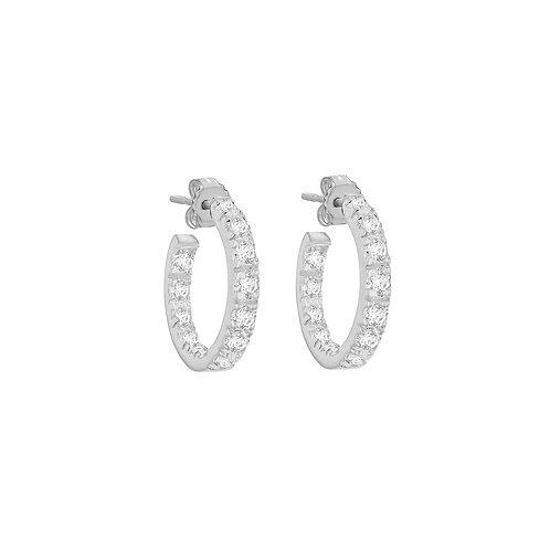 Sterling Silver CZ Micro Claw Set Hoop Earrings