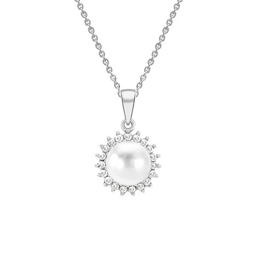 9ct White Gold Pearl and Diamond Set Pendant