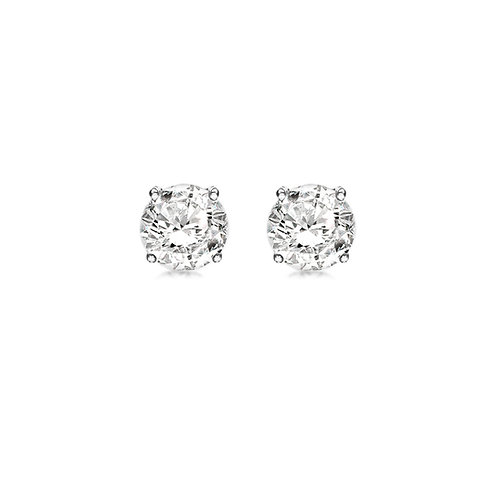 Sterling Silver Four Claw CZ Stud Earrings