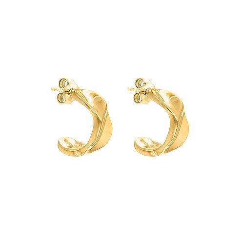 Yellow Gold Vermeil Twisted Half Hoop Earrings