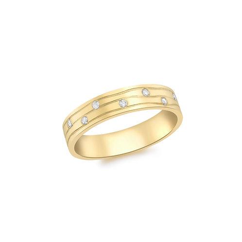 9ct Yellow Gold Diamond Set Design Ring