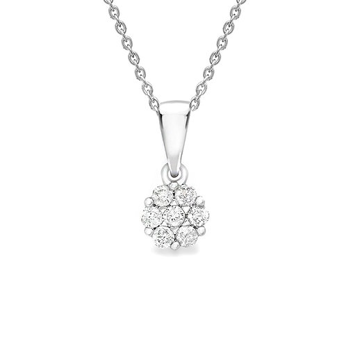 9ct White Gold Diamond Set Cluster Pendant