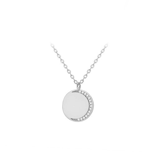 Sterling Silver Half CZ Disc Necklace
