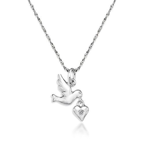 Sterling Silver Diamond Set Bird and Heart Necklace