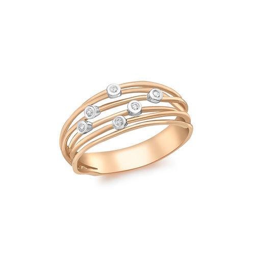 9ct Rose Gold Diamond Set Wire Ring