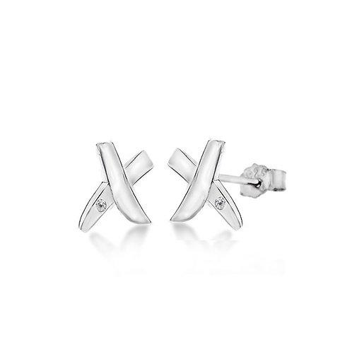 Sterling Silver Diamond Set Kiss Stud Earrings