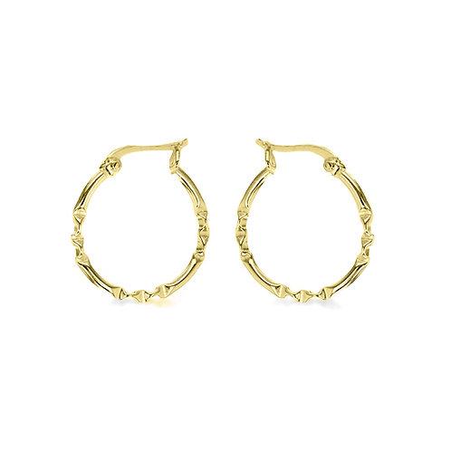 Yellow Gold Vermeil 20mm Patterned Hoop Earrings