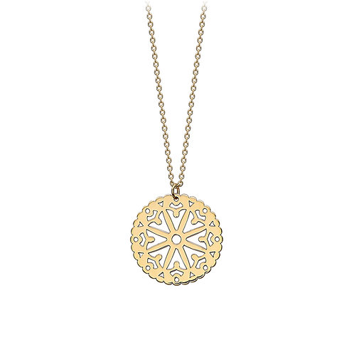 9ct Yellow Gold Lace Disc Pendant