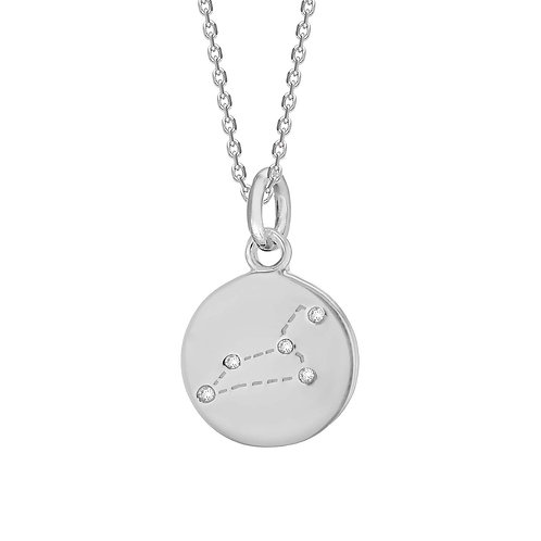 Leo Sterling Silver Disc Pendant