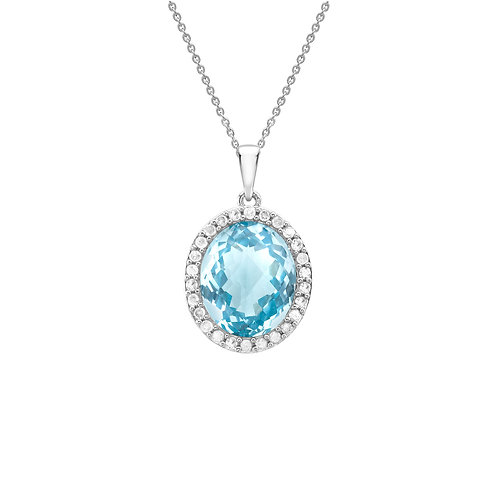 9ct White Gold Oval Blue Topaz and Diamond Pendant