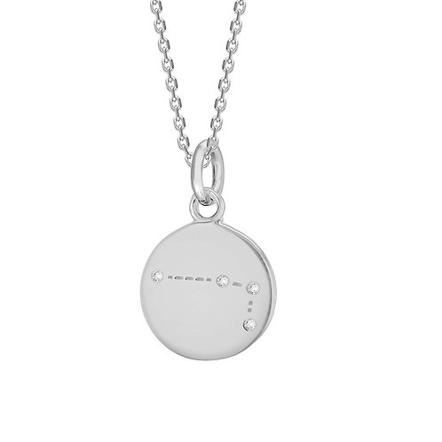 Aries Sterling Silver Disc Pendant