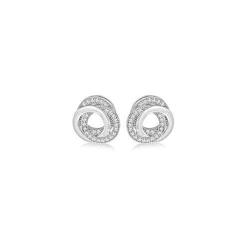 Sterling Silver CZ Linked Rings Stud Earrings