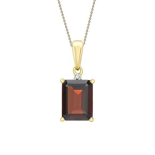 9ct Yellow Gold Octagonal Garnet and Diamond Pendant