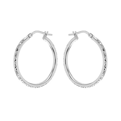 Silver Diamond Cut 24mm Creole Hoops