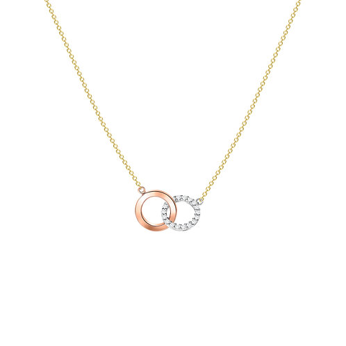 9ct Tri Gold Linked Ring CZ Necklace