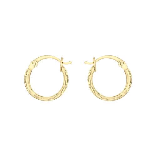 9ct Yellow Gold Diamond Cut 12mm Creole Earrings