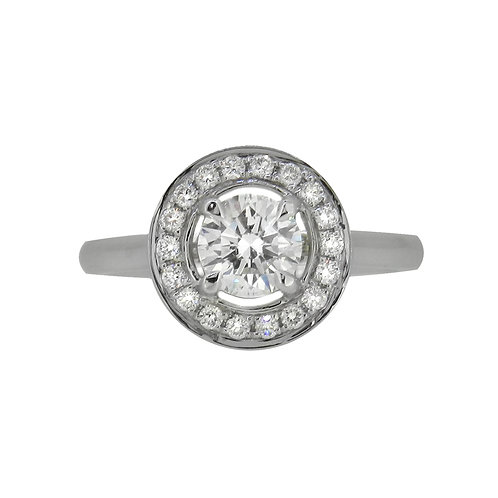 18ct White Gold Diamond Halo Solitaire Ring