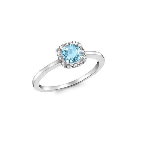 9ct White Gold Blue Topaz and Diamond Square Ring