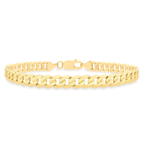 9ct Yellow Gold Flat Curb Gents Bracelet