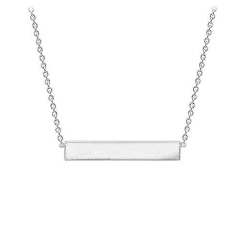 9ct White Gold Bar Pendant