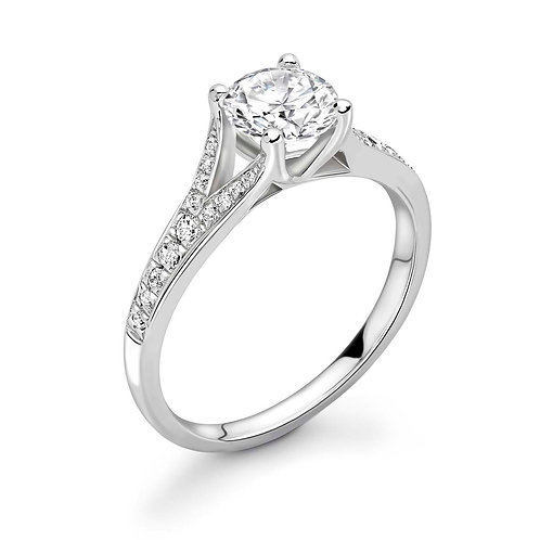 0.50ct Diamond Solitaire Double Shoulder Ring