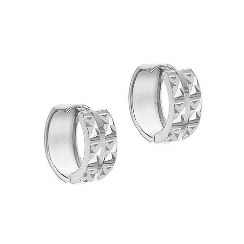 Sterling Silver 13.5mm Diamond Cut Huggie Earrings