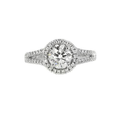 18ct White Gold Split Shoulder Diamond Halo Ring