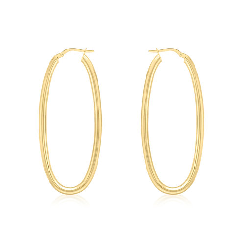 9ct Yellow Gold Large Oval Creole Earrings