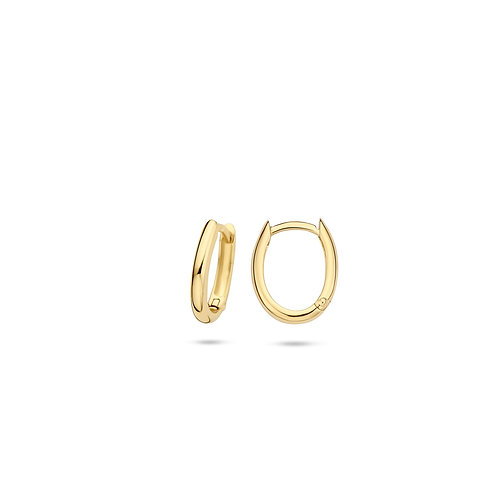 14ct Yellow Gold 13mm Oval Huggie Earrings